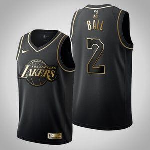 Lakers #2 Lonzo Ball Golden Black Jersey